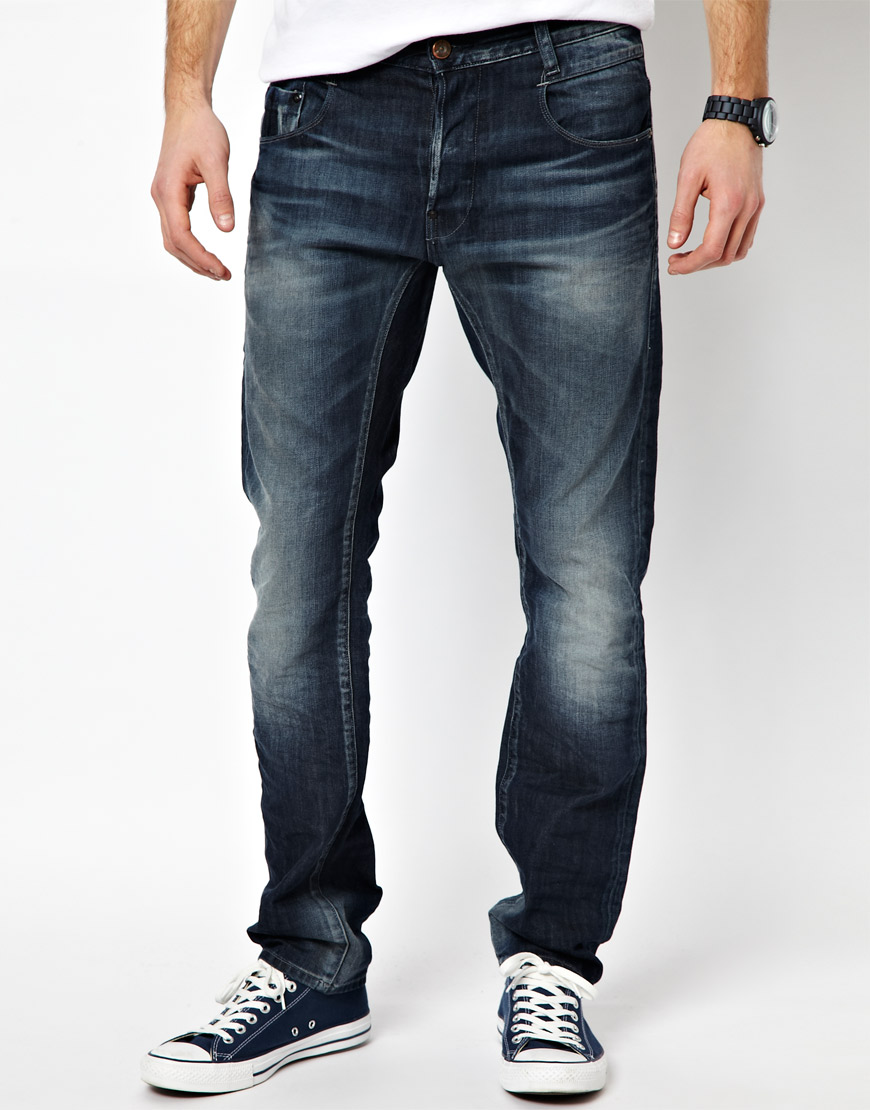g star raw jeans new radar slim dark aged in blue for men. Black Bedroom Furniture Sets. Home Design Ideas
