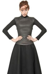 Gareth Pugh Cashmere Jersey Sleeve Waxed Cotton Top - Lyst