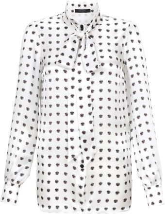 Giles White Polka Dot Silk Blouse - Lyst
