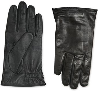 Giorgio Armani Touch Screen Leather Gloves - Lyst