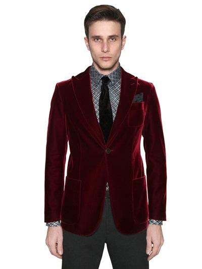 Lyst Giorgio Armani Velvet Jacket In Purple For Men