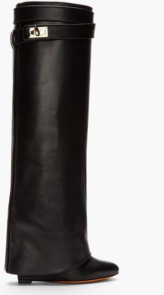 Givenchy Black Leather Shark Lock Wedge Boots - Lyst