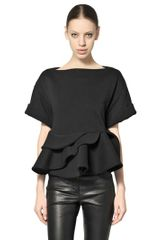 Givenchy Ruffled Cotton Fleece Top - Lyst