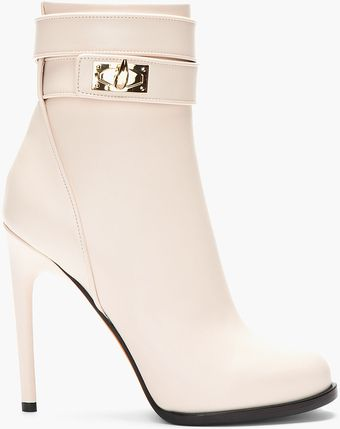 Givenchy Baby Pink Leather Shark Lock Ankle Boots - Lyst