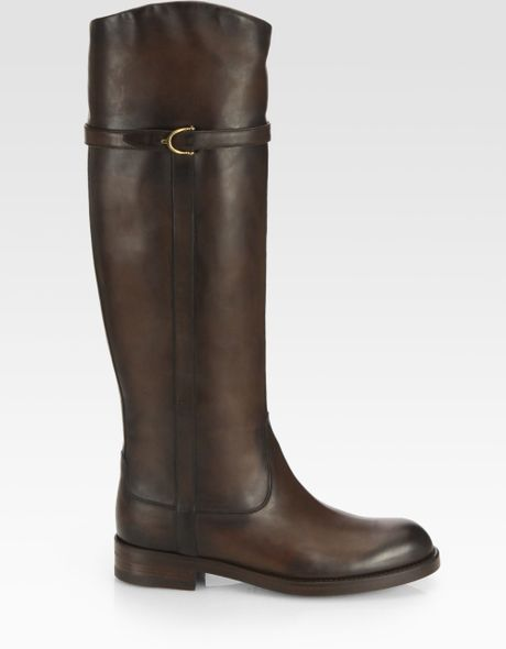 gucci distressed leather boots in brown lyst