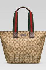 Gucci Original Gg Canvas Tote with Signature Web Straps in Beige (brown) - Lyst