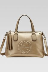 Gucci Soho Metallic Leather Top Handle Bag - Lyst