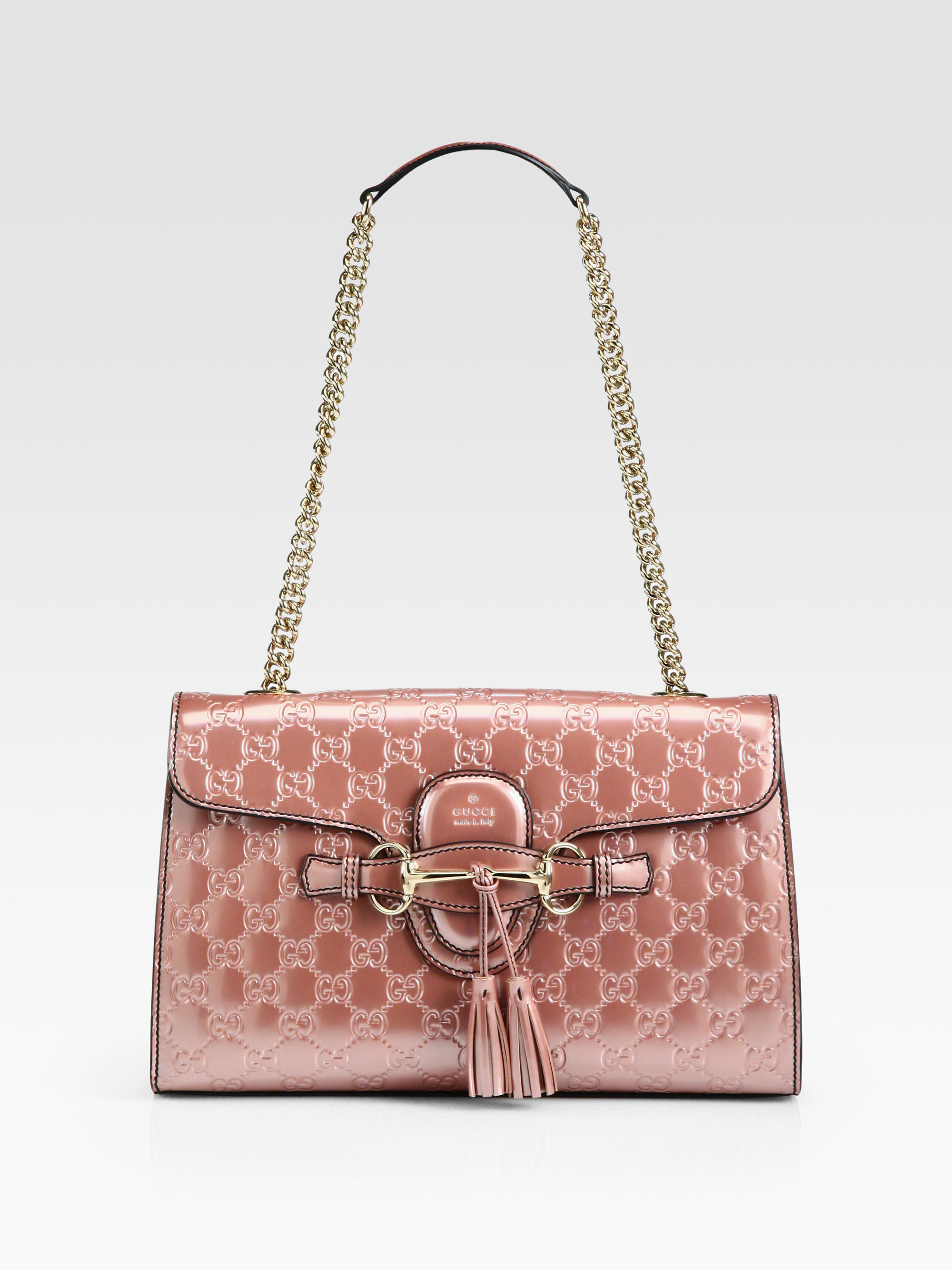 7c12de6034a Lyst - Gucci Emily Light Pink Shiny Microguccissima Shoulder Bag in Pink