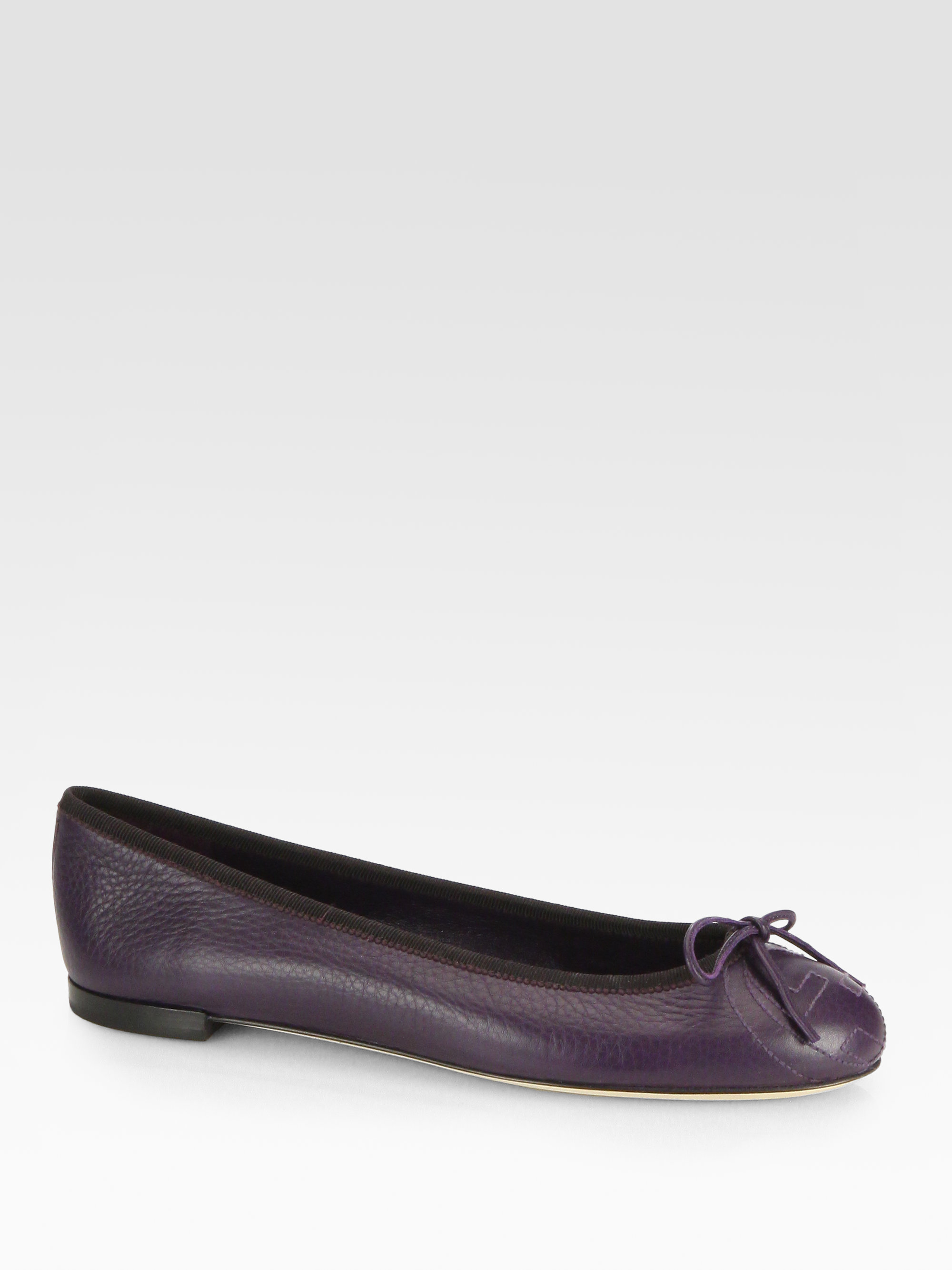 gucci gg embroidered leather ballet flats in purple lyst. Black Bedroom Furniture Sets. Home Design Ideas