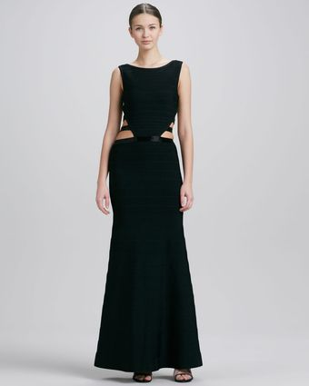 Hervé Léger Cut-outside Long Bandage Gown - Lyst
