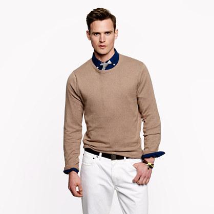 Lyst Jcrew Slim Cotton Cashmere Crewneck Sweater In Natural For Men