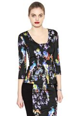 Just Cavalli Printed Heavy Stretch Viscose Jersey Top - Lyst