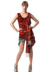 Just Cavalli Tiger Devoré Print Velvet Dress - Lyst