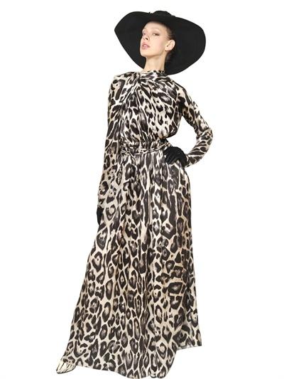 Lyst Lanvin Leopard Print Silk Satin Long Dress