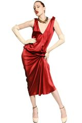 Lanvin Washed Silk Satin Dress - Lyst