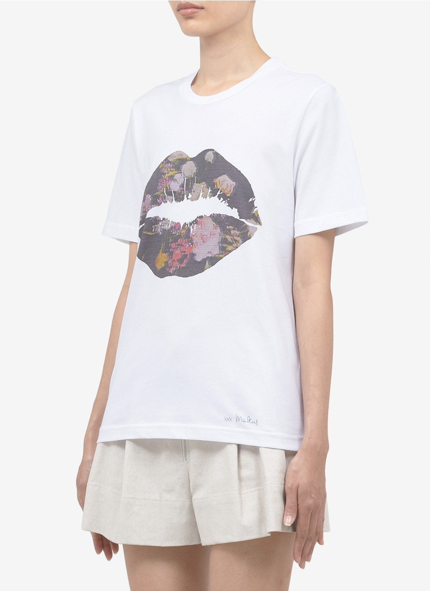 Lyst Markus Lupfer Floral Smacker Lip Print T Shirt In White
