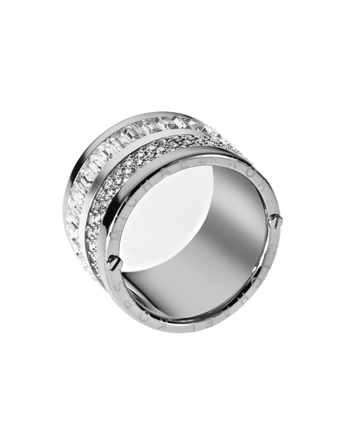 michael kors pave barrel ring in silver lyst