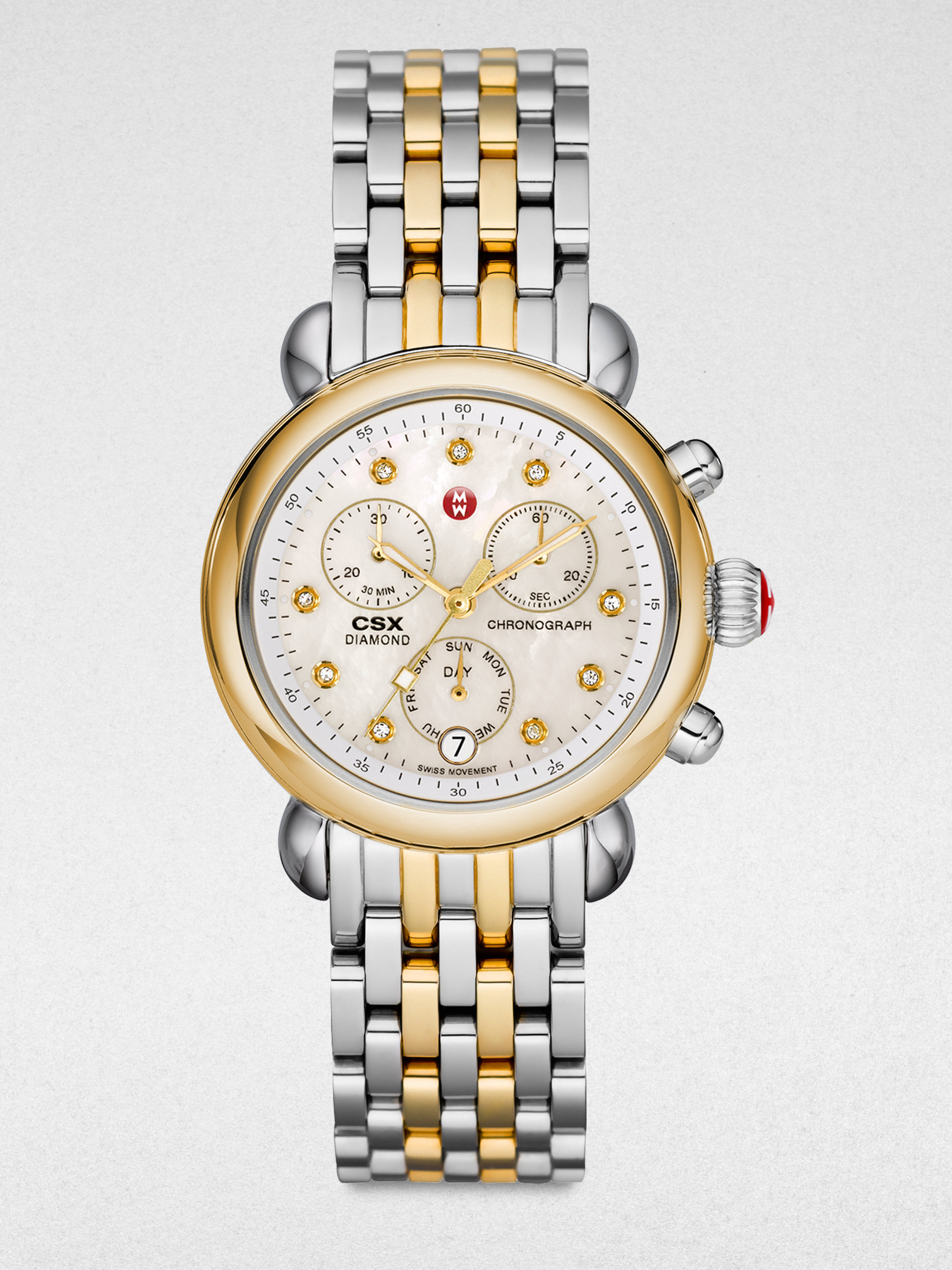 michele twotone stainless steel chronograph in gold