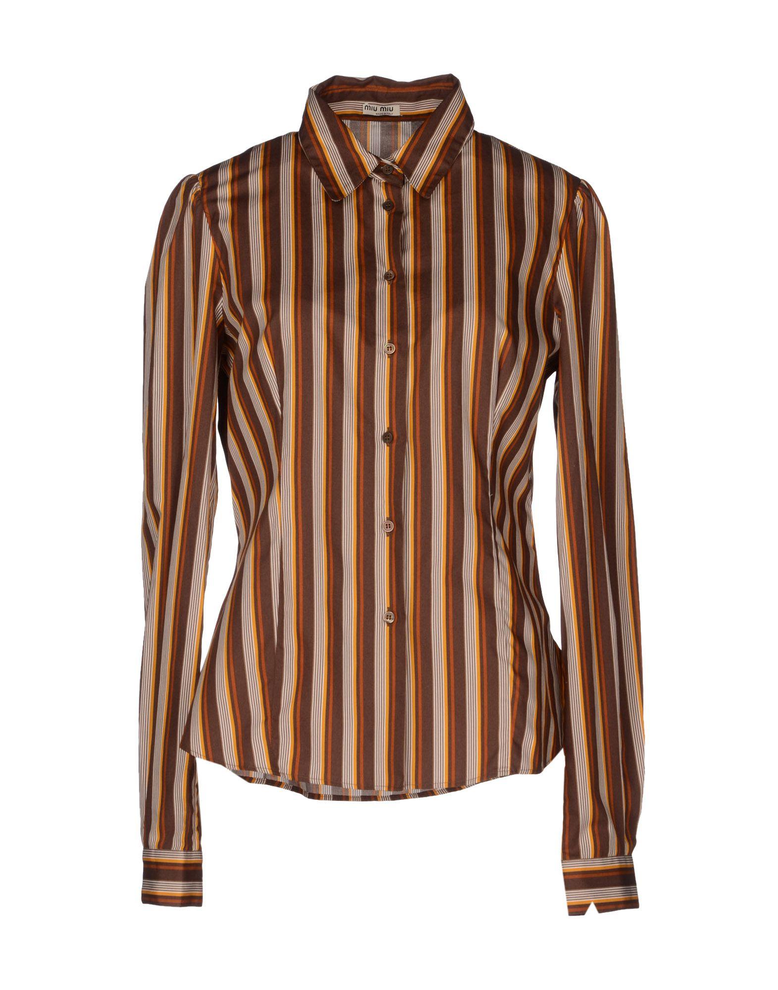 Miu miu long sleeve shirts in brown lyst for Miu miu t shirt
