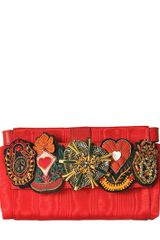 Moschino Lillie Embroidered Satin Clutch - Lyst