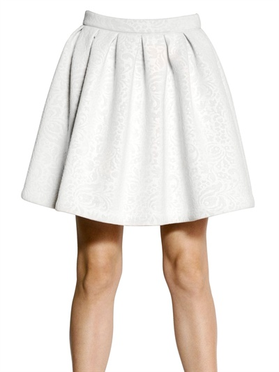Msgm Neoprene Flared Skirt in White | Lyst