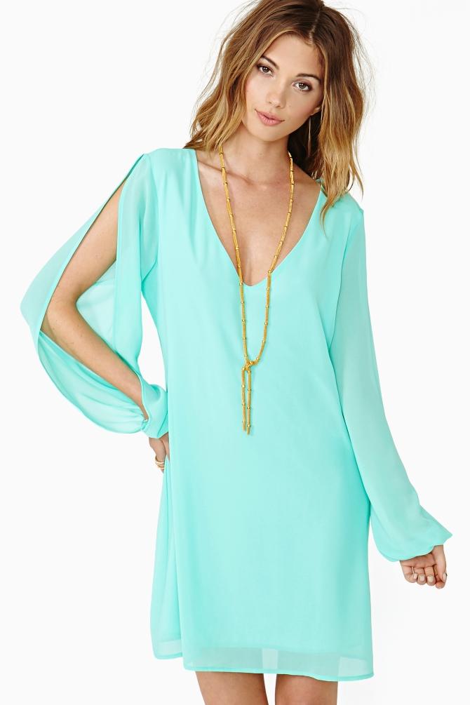 Lyst nasty gal talia dress mint in green for Mint wedding guest dress