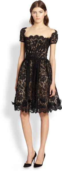 Oscar de la Renta Scalloped Silk Dress - Lyst