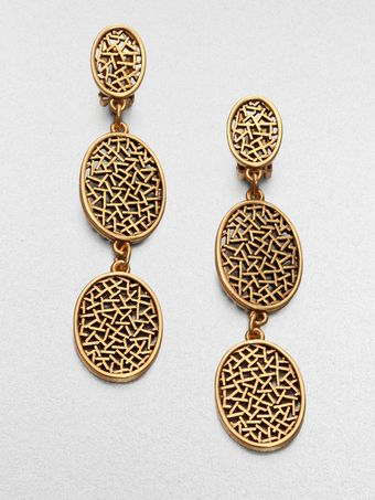 Oscar de la Renta Oval Disc Drop Earrings - Lyst