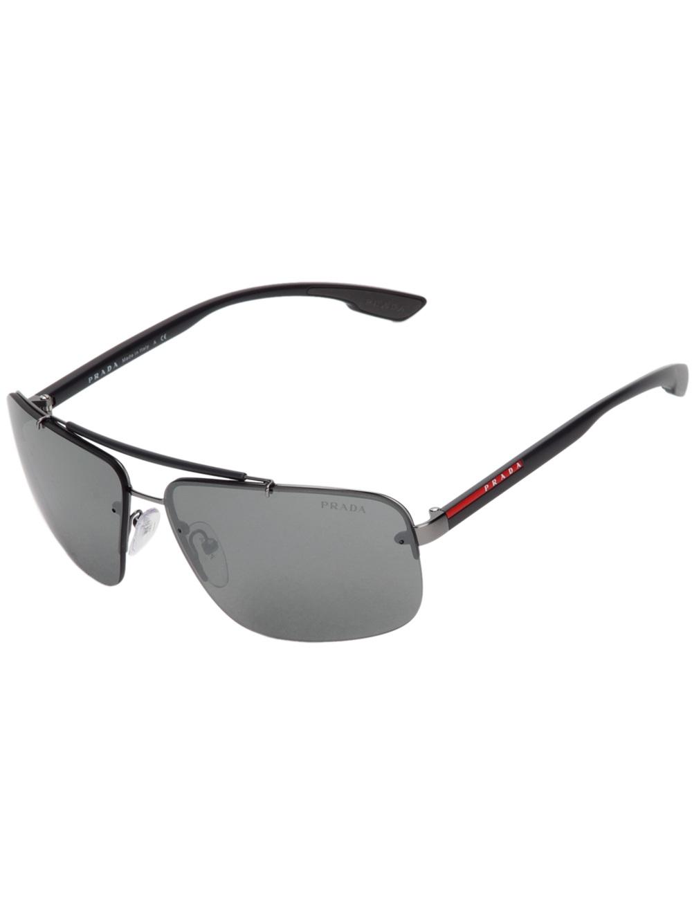 611d845d6007 Prada Square Frame Sunglasses in Gray for Men - Lyst