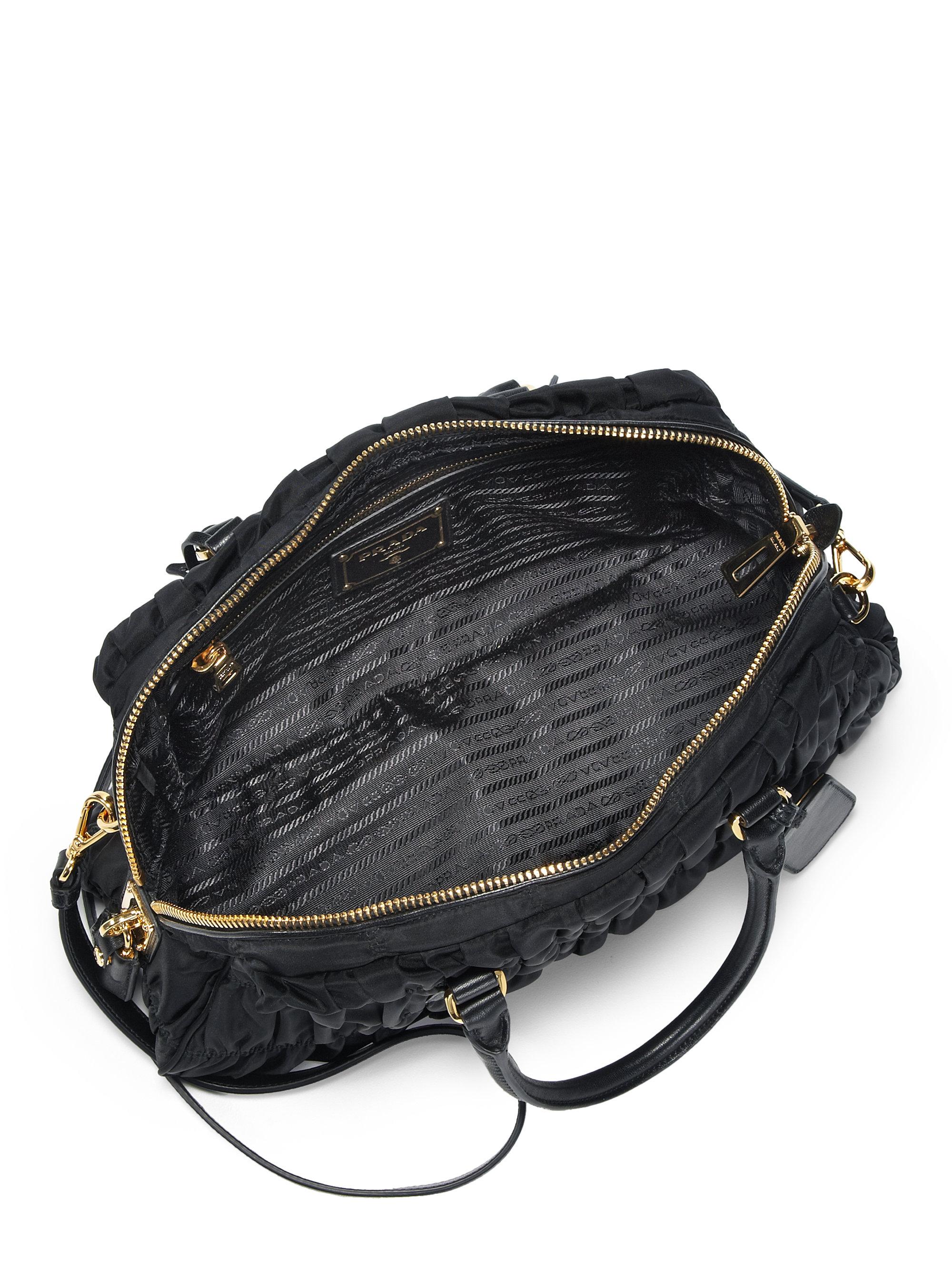 fe23382bbb2 Lyst - Prada Tessuto Gaufre Small Nylon Satchel in Black