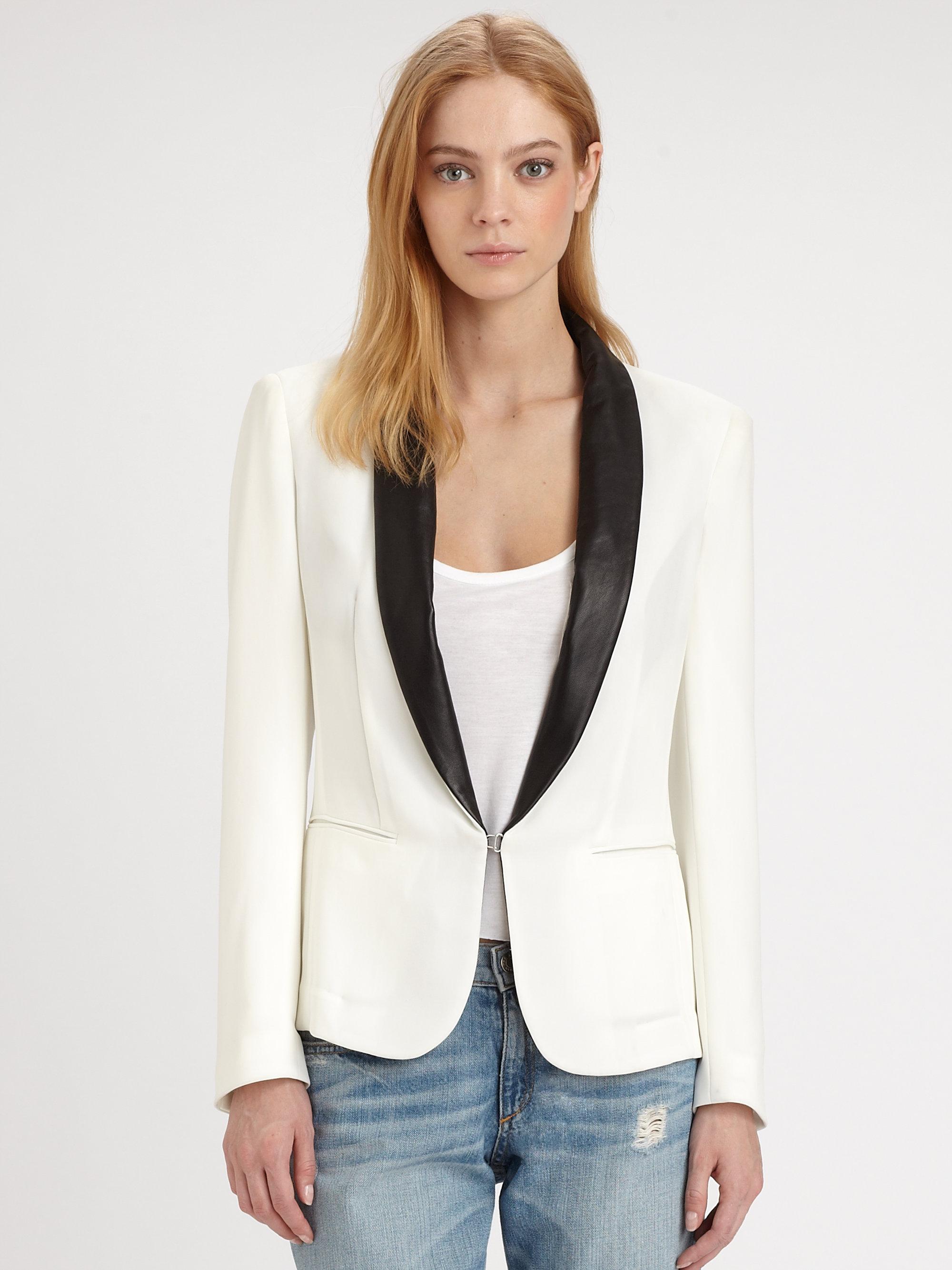 Rag Amp Bone Sliver Leathertrim Tux Blazer In Ivory White