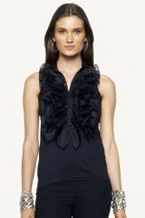 Ralph Lauren Black Label Sleeveless Silk Ruffle Blouse - Lyst