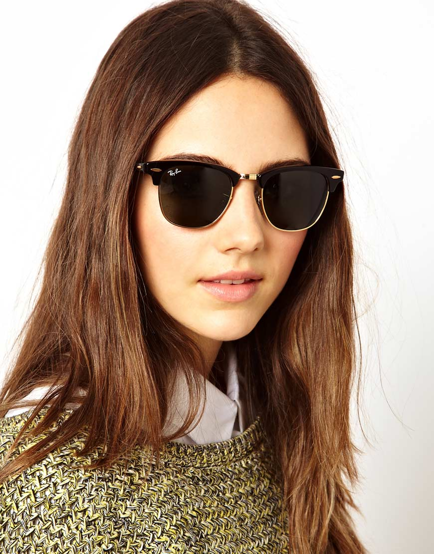 all black clubmaster sunglasses  Orla kiely Rayban Crystal Green and Black Clubmaster Sunglasses in ...