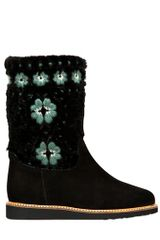 RED Valentino 30mm Suede Shearling Boots - Lyst