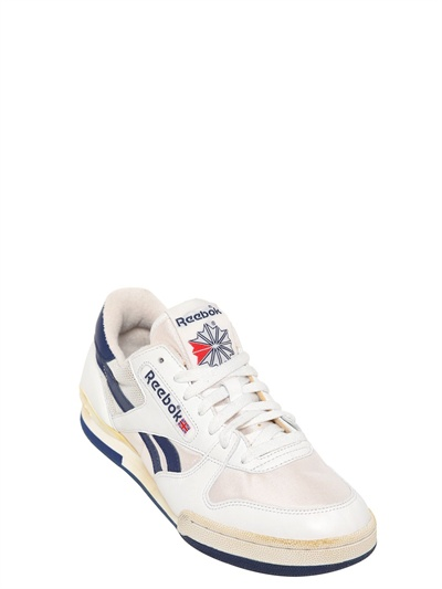 Reebok 90 Leather Mesh Tennis Sneakers in Blue for Men - Lyst 4489bb2ca