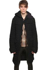 Saint Laurent Wide Mohair Crochet Hooded Coat - Lyst