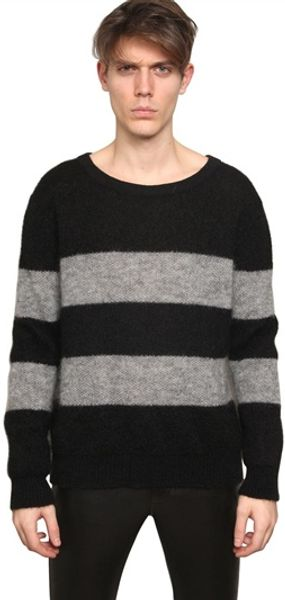 Saint Laurent Striped Wool Knit Sweater - Lyst