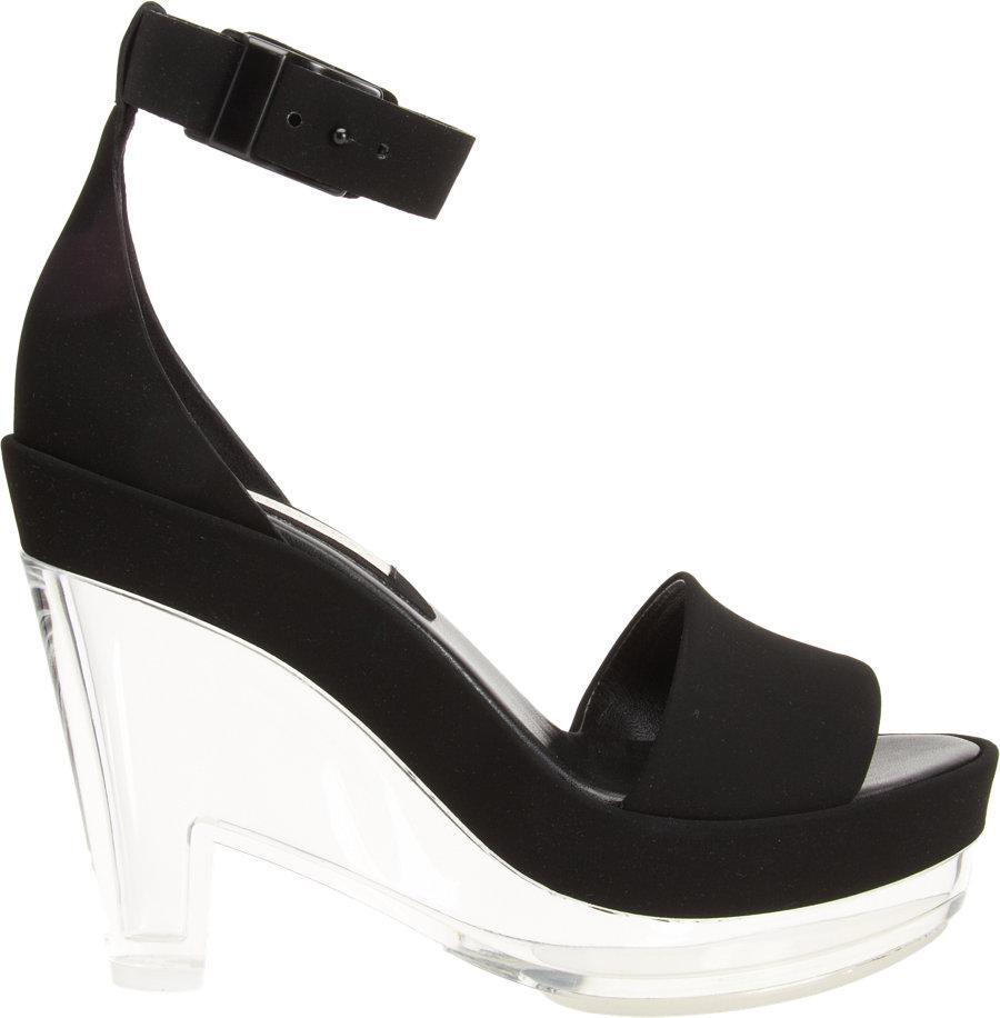 stella mccartney lucite wedge sandal in black lyst