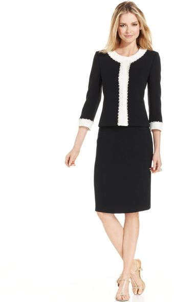 Tahari Fauxpearltrim Jacket Pencil Skirt - Lyst