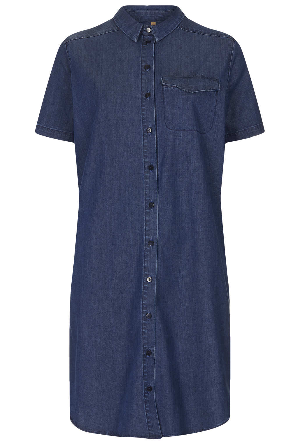 Lyst topshop moto indigo denim shirt dress in blue for Indigo denim shirt womens