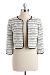Anne Klein Striped Cropped Jacket - Lyst