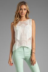 BCBGMAXAZRIA Lace Combo Top in White
