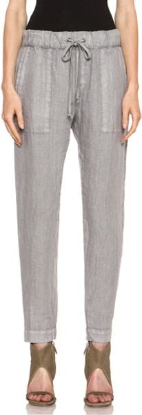 Enza Costa Linen Pant in Gray - Lyst