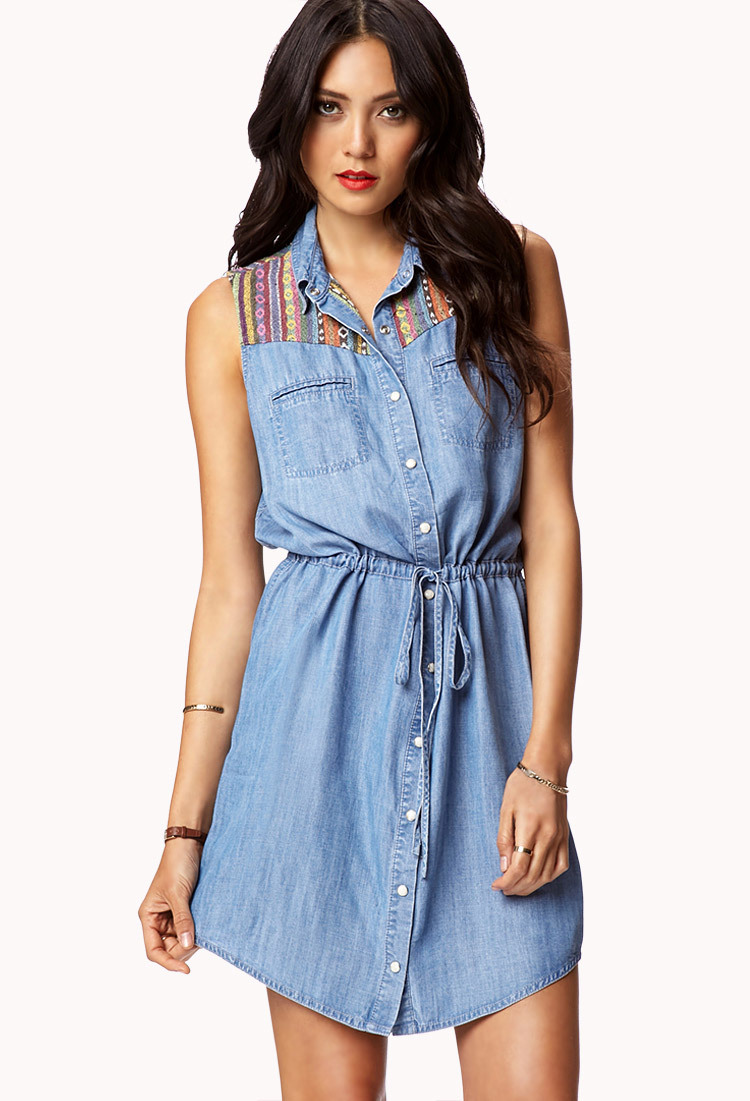 Lyst forever 21 southwestern pattern chambray shirt for Chambray 7 s