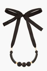 Marni Black Horn and Ribbon Necklace - Lyst