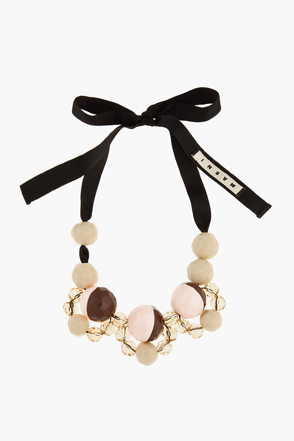 Marni Metal hoop necklace with beaded ribbon - Black 9A1v1irqY