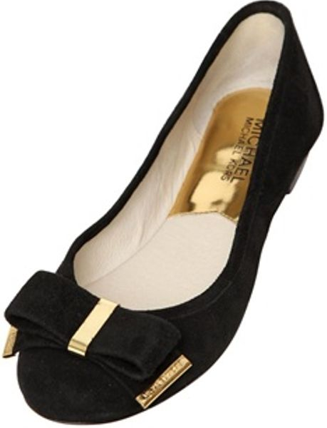 michael michael kors 10mm suede bow ballerina flats in black lyst. Black Bedroom Furniture Sets. Home Design Ideas