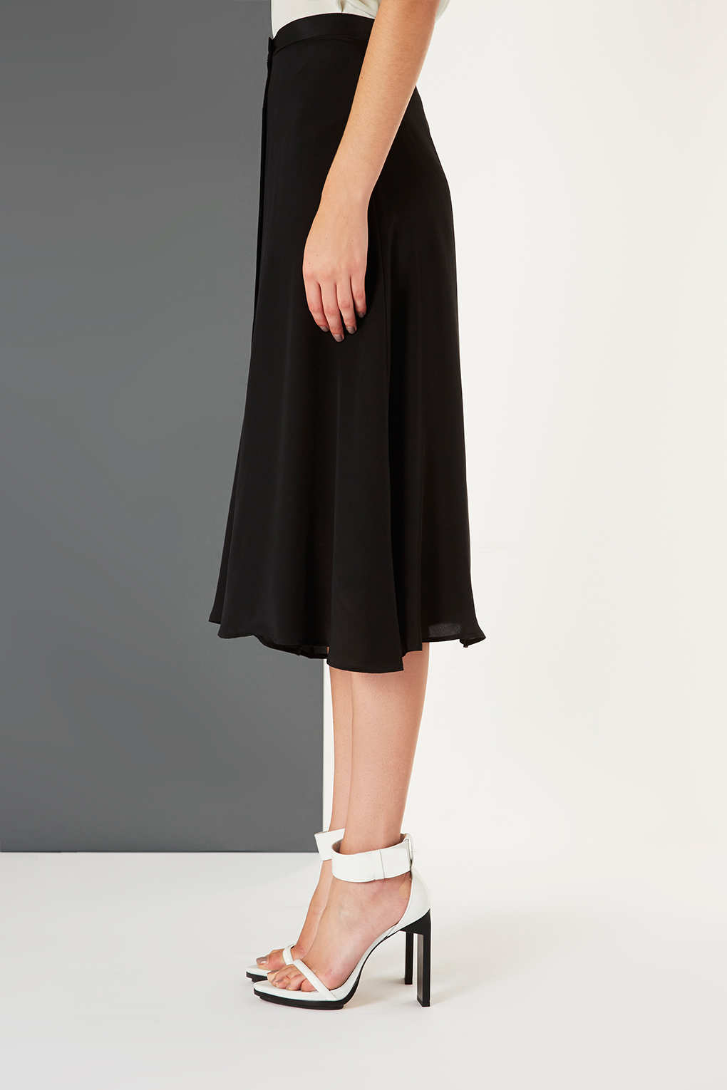 Topshop Silk Button Midi Skirt By Boutique in Black | Lyst
