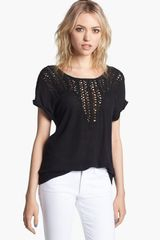 Trouvé Open Weave Bib Linen Blend Top - Lyst