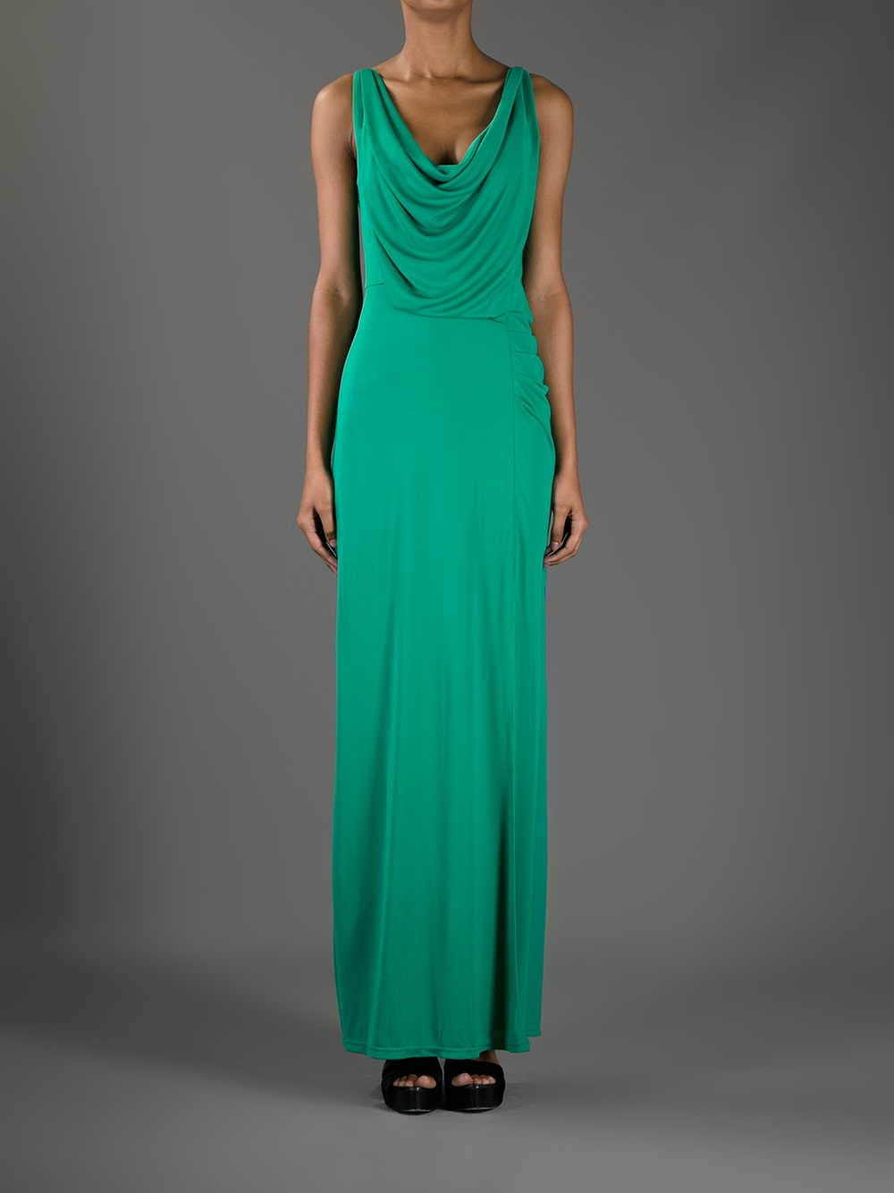 Lyst - Bcbgmaxazria Cowl Neck Maxi Dress in Green